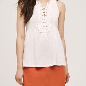Anthropologie Lace Up Peplum Tank